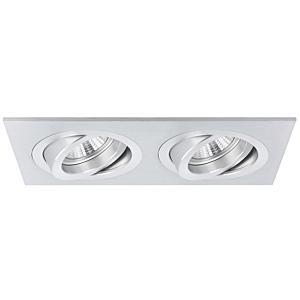 Spot encastrable Torino double rectangulaire aluminium orientable avec ressorts de serrage