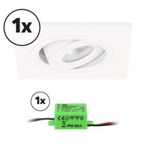 Ensemble complet 1x spot LED encastrable Alba carré 3W 2700K blanc IP65 dimmable orientable