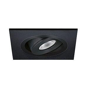 Spot LED encastrable Alba extra plat carré 3W 2700K noir IP65 dimmable orientable