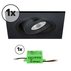 Ensemble complet 1x spot LED encastrable Alba extra plat carré 3W 2700K noir IP65 dimmable orientable