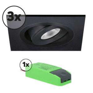 Ensemble complet 3x spot LED encastrable Alba extra plat carré 3W 2700K aluminium IP65 dimmable orientable