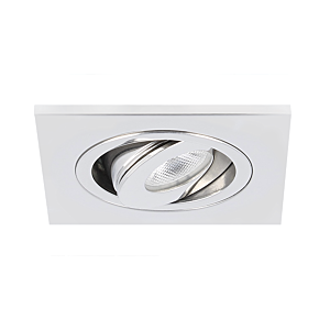 Spot LED encastrable Alba extra plat carré 3W 2700K inox IP65 dimmable orientable