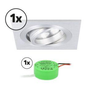 Ensemble complet 1x spot LED encastrable Lecco carré 5W 2700K aluminium IP65 dimmable orientable