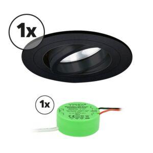 Ensemble complet 1x spot LED encastrable Montella rond 5W 2700K noir IP65 dimmable orientable