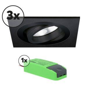 Ensemble complet 3x spot LED encastrable Lecco carré 5W 2700K noir IP65 dimmable orientable