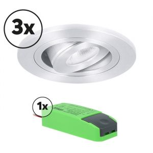 Ensemble complet 3x spot LED encastrable Monza rond 3W 2700K aluminium IP65 dimmable orientable