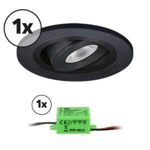 Ensemble complet 1x spot LED encastrable Monza extra plat rond 3W 2700K noir IP65 dimmable orientable