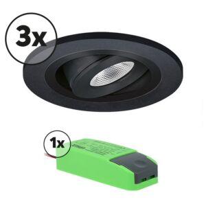 Ensemble complet 3x spot LED encastrable Monza extra plat rond 3W 2700K noir IP65 dimmable orientable
