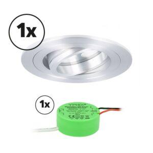 Ensemble complet 1x spot LED encastrable Montella rond 5W 2700K aluminium IP65 dimmable orientable