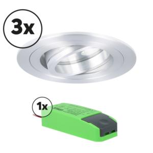 Ensemble complet 3x spot LED encastrable Montella rond 5W 2700K aluminium IP65 dimmable orientable
