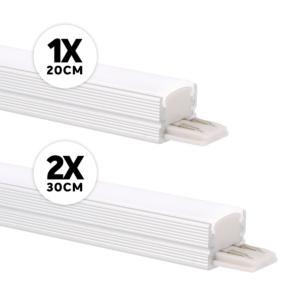 Baguette LED meuble ensemble complet saillie 12W 3000K aluminium dimmable 24V DC