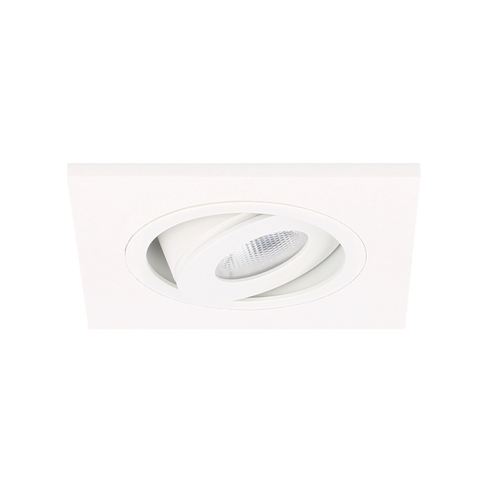 Spot LED encastrable Alba extra plat carré 3W 2700K blanc IP65 dimmable orientable