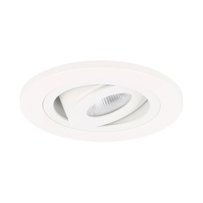 Spot LED encastrable Monza extra plat rond 3W 2700K blanc IP65 dimmable orientable