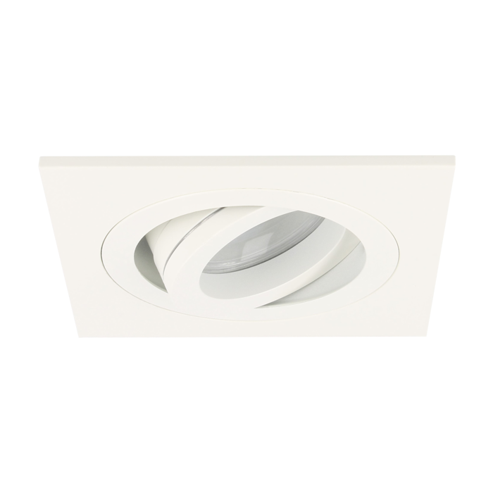 Spot LED encastrable Cantello carré 7W 2700K blanc IP65 dimmable orientable