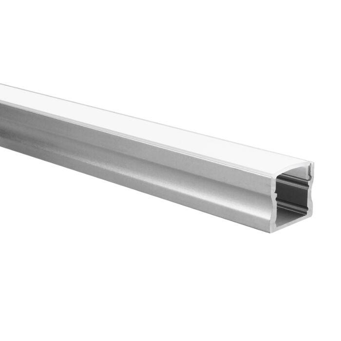 Profilé ruban LED Potenza aluminium haut 5m (2 x 2,5m) avec couvercle opaque