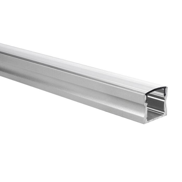 Profilé ruban LED Potenza aluminium haut 1m avec couvercle transparent
