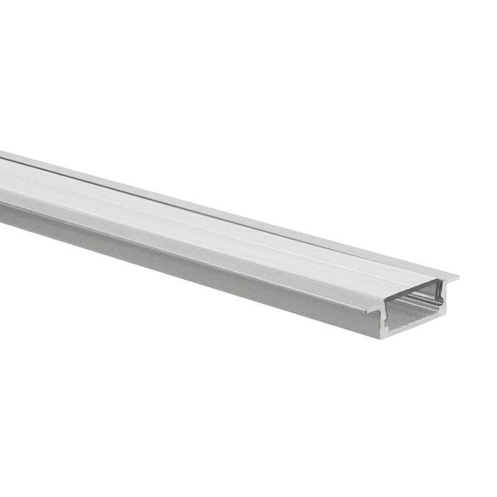 Profilé ruban LED Matera aluminium plat 1m avec couvercle transparent