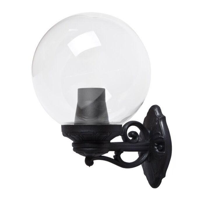 Applique murale G250 globe noir verre transparent E27 IP55
